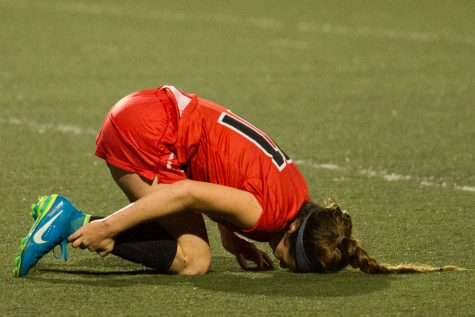 Isabella Viana of the Santa Barbara Vaqueros fouled on during their match against Clovis at La Playa Stadium in Santa Barbara, Calif. on Sept. 15, 2017. City College and Clovis College both suffered multiple injuries during the game.