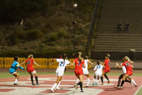 City College kick a corner kick during their match against Clovis College Sept. 15, 2017, at La Playa Stadium in Santa Barbara, Calif. City College ranks no. 2 in the state and no. 9 in the nation.