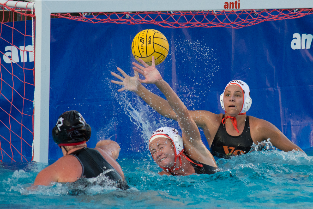 City College down two points before Sarah Parson makes a goal on Ventura College Sept. 20, 2017 at San Marcos High School in Santa Barbara, Calif. Parson is a freshman at City College and plays center for the water polo team.