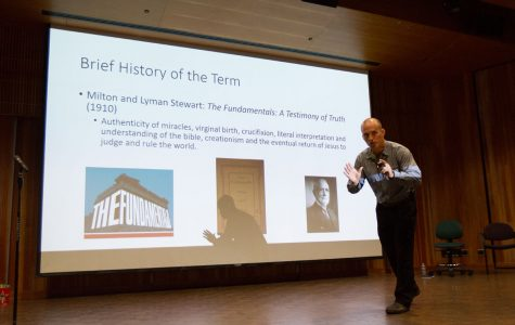 """Cal Poly Lecturer Adam benShea speaking at the """"Religion and Violence"""" colloquium Thursday evening, Sept. 7, 2017, at the Fe Bland Forum in Santa Barbara City College. BenShea was giving a brief lesson on the history of fundamentalism and the difference between fundamentalists and traditionalists."""