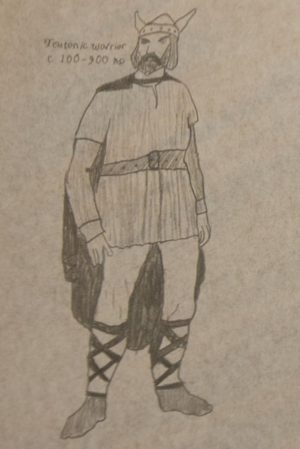 Drawing of medieval designs for a Teutonic warrior by Sierra Castaneda