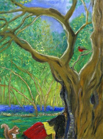Courtesy art from painter Christina Pagès. The scene portrayed in the painting alludes to the first time she ever wrote a poem when she was 8-years-old, sitting up in a tree.