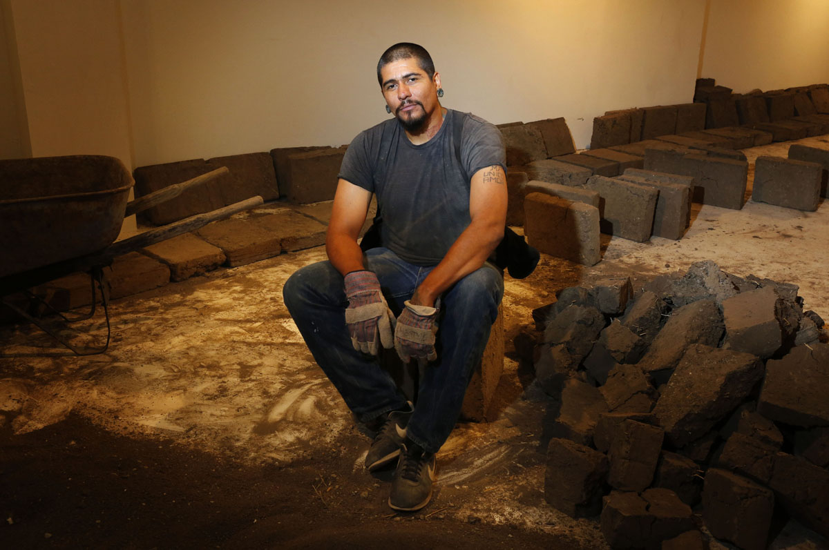 Courtesy art of Rafa Esparza. Esparza is in the process of building an adobe structure that will be on view from Oct. 6 to Dec. 1 in the Atkinson Gallery at Santa Barbara City College, Santa Barbara, Calif.