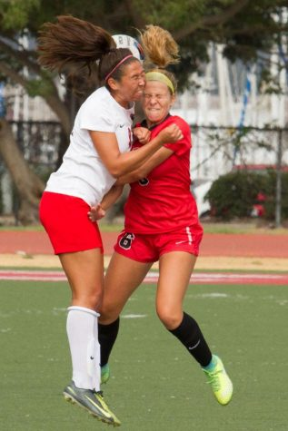 Chloe Montano (No. 6) and Kylie Covington (No.21) both going for the ball in midair collision Tuesday afternoon, Sept. 19, 2017, in La Playa Stadium at Santa Barbara City College. The SBCC Vaqueros won the game 2-0 and are still undefeated for the season.