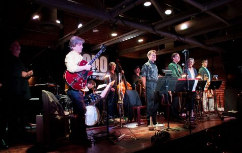 """The Monday Madness Big Band playing at SOhO Restaurant and Music Club Monday, Sept. 18, 2017, at the SOhO Restaurant and Music club in Santa Barbara, Calif. The band was founded and conducted by Chuck Woods in 1988 and is now conducted by Issac """"Ike"""" Jenkins."""