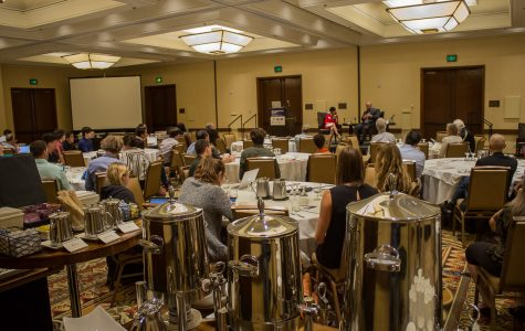 Attendees of the Global Manufacturing for Startups Summit listen to speakers Julie Samson and Django Dexter discuss international manufacturing strategies Friday, Oct. 27, at the Fess Parker DoubleTree Resort.