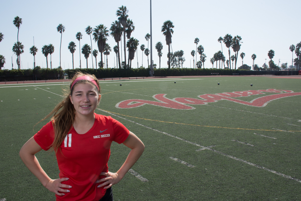 Isabella Viana, forward for the women's City College soccer team, at La Playa Stadium, on Oct. 12. The Vaqueros have not lost a single game this season and Viana (no. 11) is a big contribution to the team's success.