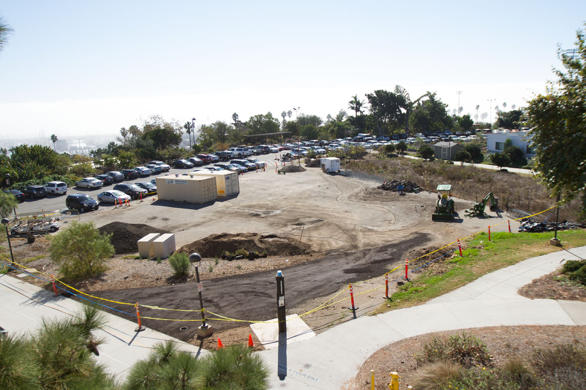 Construction zone where the old portable classrooms used to be Friday, Oct. 27, on East Campus. Plans have been made to reserve the area for the geology department's bus, new bike racks, a picnic area and succulent plants like cactus.