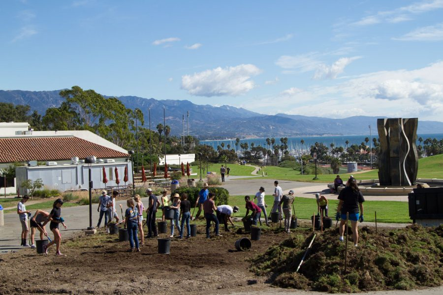 The+first+Permaculture+Garden+workday+9+a.m.+to+4+p.m.+Friday%2C+Oct.+20%2C+on+West+Campus.+Volunteers+tore+up+a+plot+of+land+in+order+to+plant+native+flowers+that+will+attract+pollinators+and+help+the+garden+grow.+