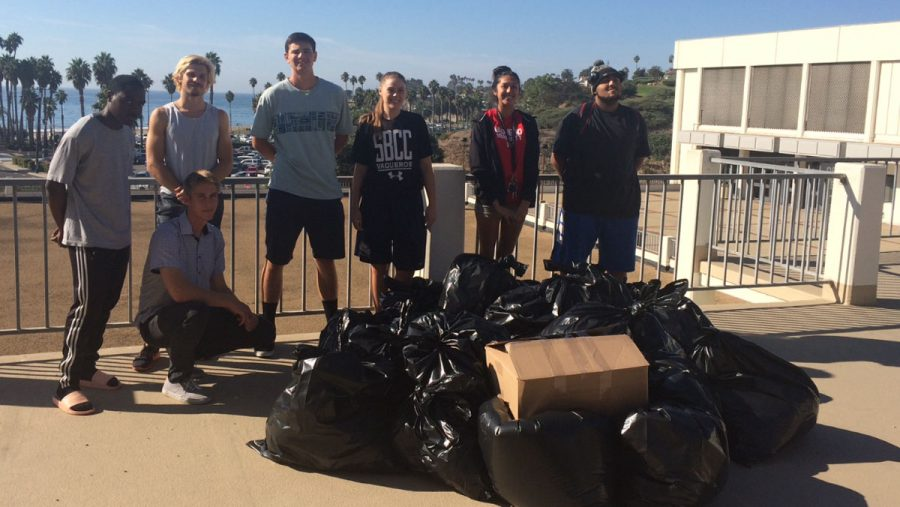 Courtesy art from athletic director Rocco Constantino of the pile of clothes donated for the clothing drive.