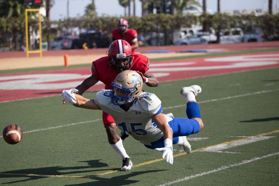 Marshawn Davenport (No.31) defends a pass intended for Nick Kimball (No.15) at Saturday, Oct. 14, at La playa stadium. The SBCC Vaqueros were defeated by Alan Hancock Bulldogs 31-3.