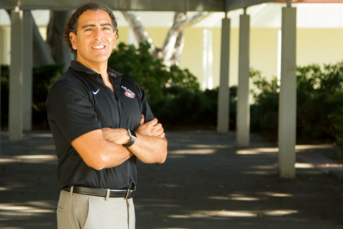Arturo Rodriguez, dean of educational programs, student affairs, Friday, Sept. 29, outside his office in the Student Services building at Santa Barbara City College in Santa Barbara, Calif. Rodriguez has a degree in architecture and teaching credentials in mathematics.