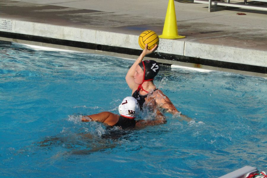 Courtesy art from David Loveton of Sarah Parson looking to pass to a teammate during a match against Golden West from.