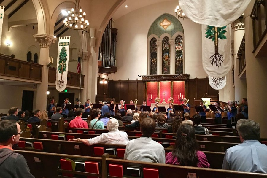 """The City College trombone choir performing Dimitri Shostakovich's """"Symphony No.5"""" live Saturday, Oct. 28, at the First United Methodist Church in downtown Santa Barbara, Calif. The 17-piece choir performance was conducted and arranged by Cody Anderson."""