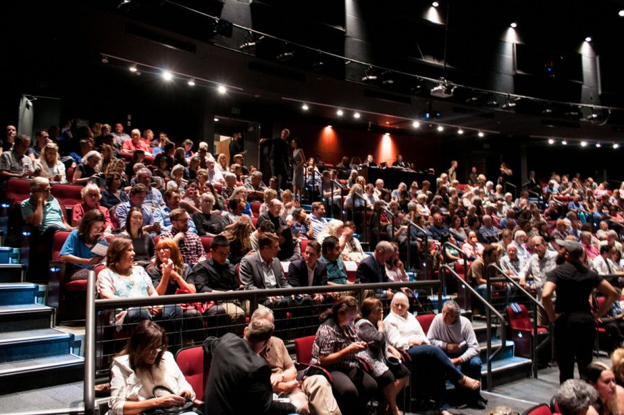 The audience at the sold out Santa Barbara Mayoral Debate Tuesday, Oct. 17, at the Garvin Theatre. The Garvin Theatre seats 370 people.