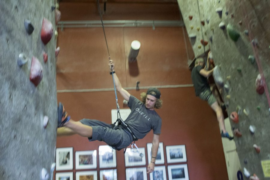 Channels reporter Aidan Anderson repelling down a rock wall Thursday, Nov. 9, at the Santa Barbara Rock Gym located on 322 State Street downtown.