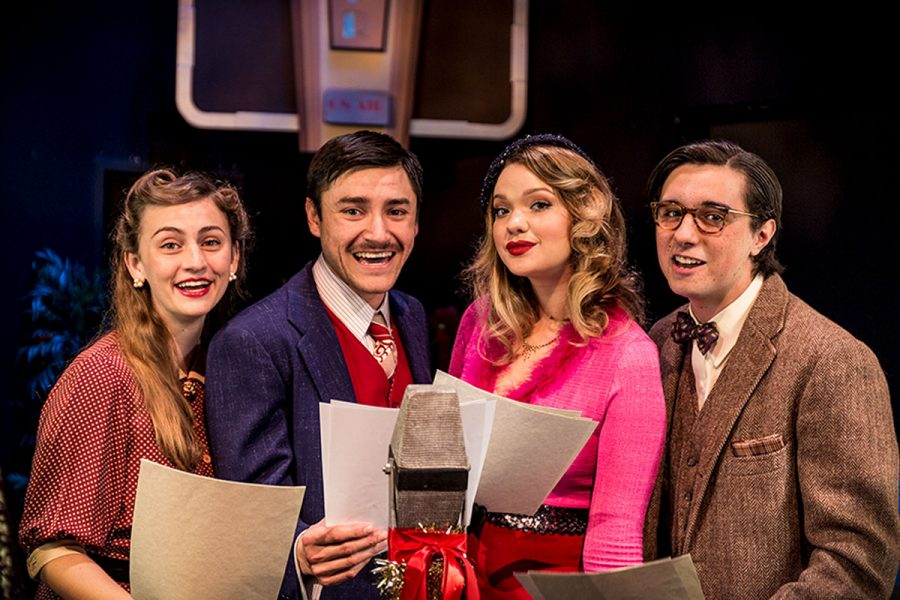 "(From left) ""It's a Wonderful Life, a Live Radio Play"" cast members Hannah Steinmann, Nicholas Sheley, Madison Duree and Gabriel Uribe-Eccles in the Jurkowitz Theater. Image courtesy of the SBCC Theatre Arts Department."