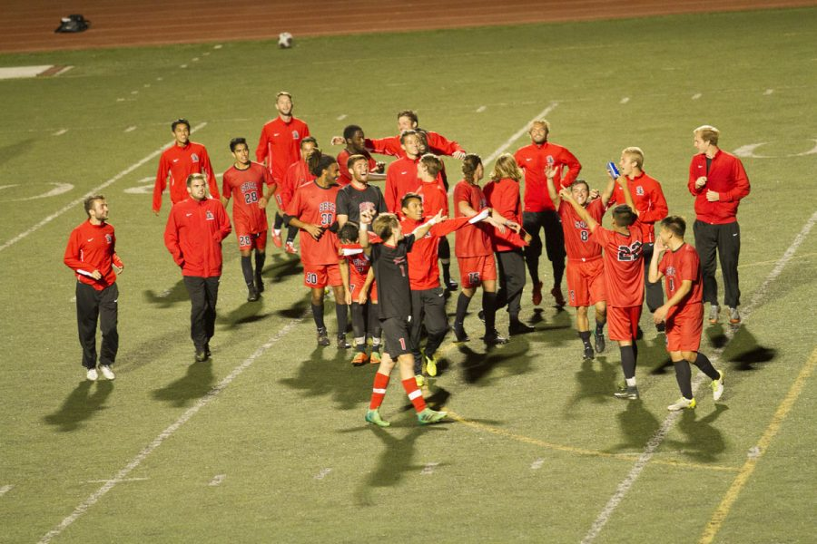 The City College men's soccer team chanting together after winning their last conference game Thursday, Nov. 9, at La Playa Stadium. The City College men's soccer team is ranked fifth in the state, and fourth in the nation.
