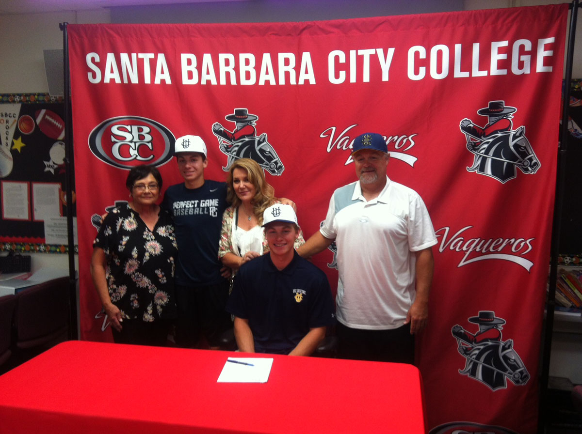 Courtesy art from Dave Loveton of John Jensen with his family during National Signing Day on Wednesday, Nov. 8, in the Sports Pavilion. Jensen signed a Letter-of-Intent to continue his baseball career at University of California Irvine.