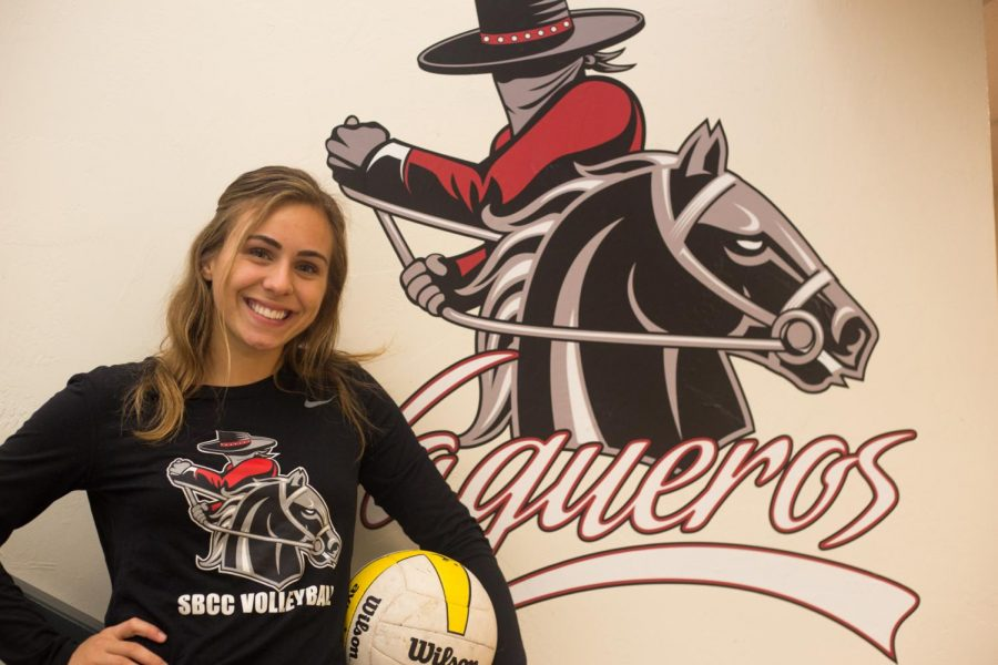 "Avery Mulvey, standout City College women's volleyball player, Friday, Nov. 12, outside of the Sports Pavilion. Mulvey leads the team in digs and her head coach, Ed Gover, described her as the ""heart and soul of the team."""