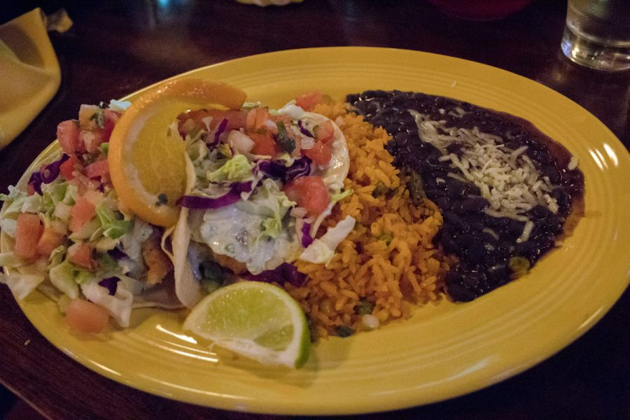 The baja tacos filled with battered white snapper fish, cabbage, pico de gallo and jalapeño tartar sauce Thursday, Nov. 30, 2017 at Casa Blanca in downtown Santa Barbara. The tacos were served with sides of rice, beans, and complimentary chips and salsa.