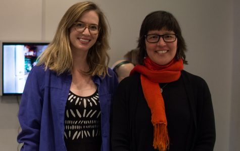 (From left) Laura Krifka, and Heidi Kumao at the opening of