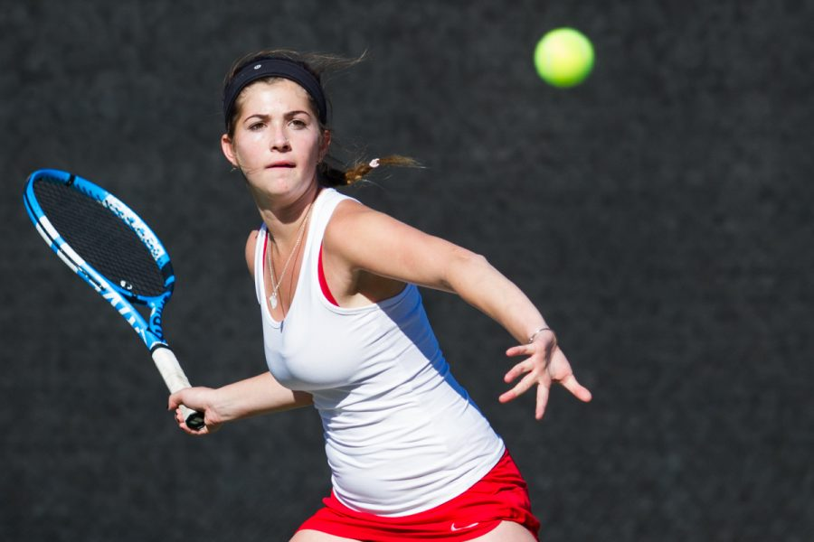 Katelyn Peyvandi of the Santa Barbara City College Vaqueros in action during her match against Miah Webb of the Glendale College Vaqueros at Pershing Park at Santa Barbara City College in Santa Barbara, Calif., on Thursday, Feb. 22, 2018.