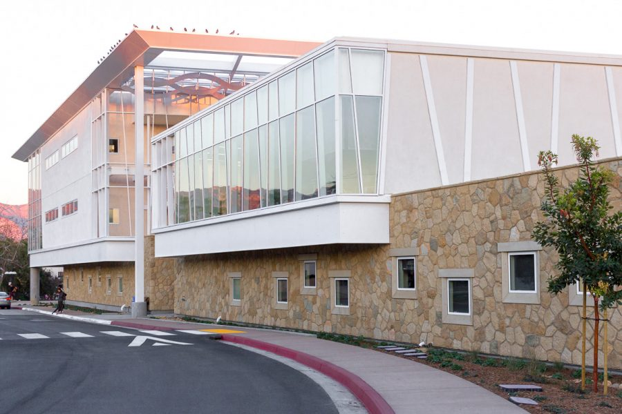 The new West Campus Classroom Building at Santa Barbara City College, on January 31. With construction complete the West Campus has a drop off and pick up area that reopened since construction completed.