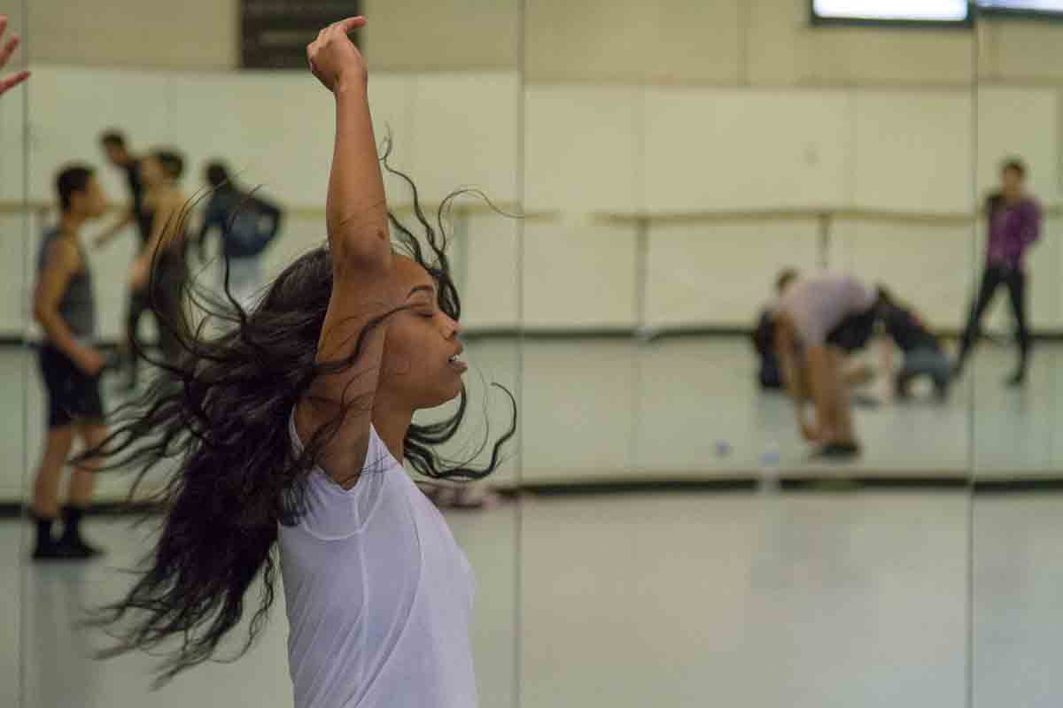Camara Byrd moves through her dance routine at Santa Barbara City College.  Byrd spends hours a day working on her routine so she is ready for competition.