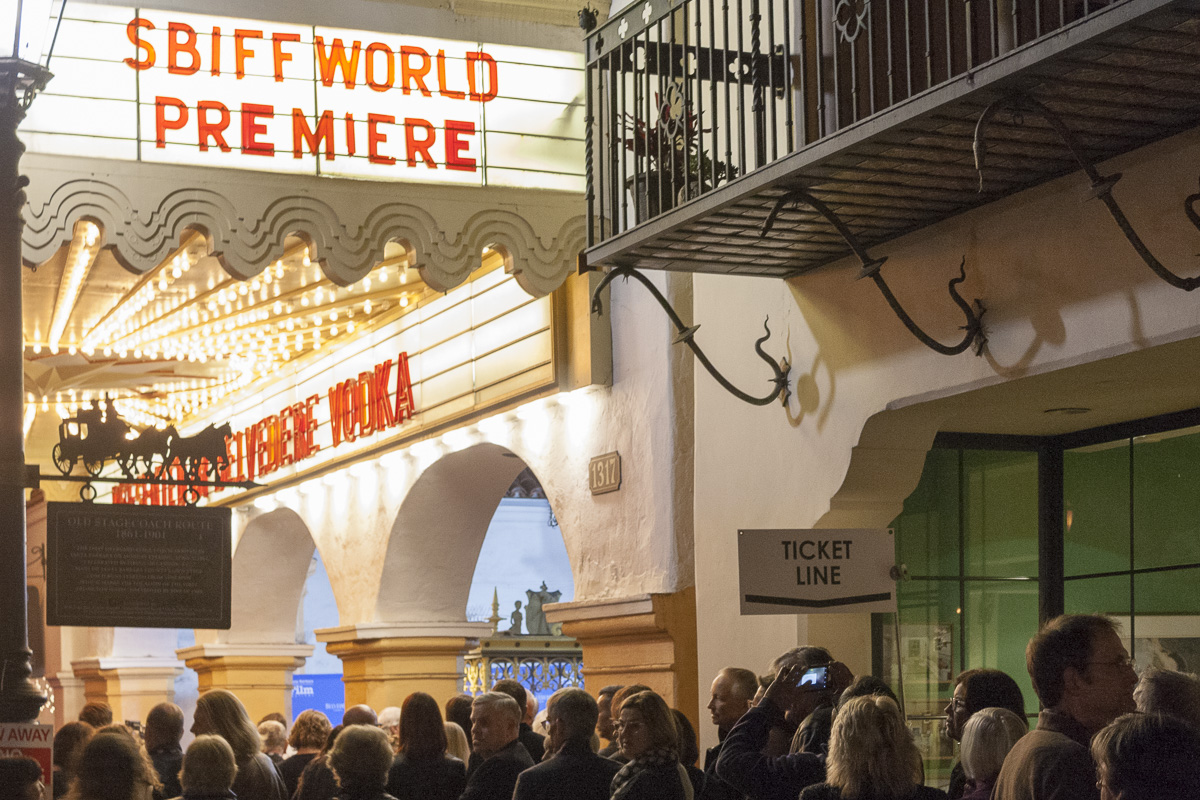 "Filmgoers line up to see the Santa Barbara Film Festival's opening film, ""The Public,"" at the Arlington Theatre on Wednesday, Jan. 31 in Santa Barbara, Calif."