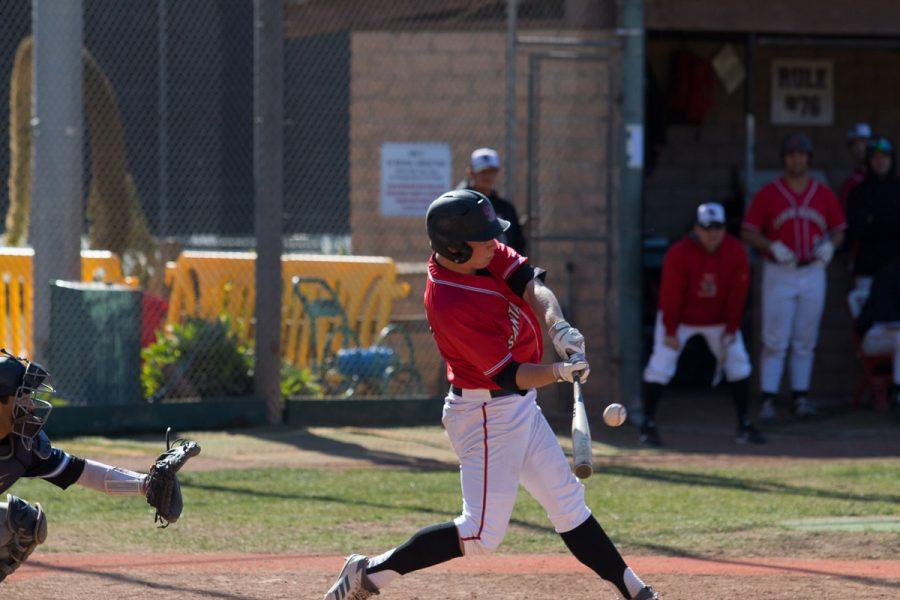 Santa Barbara City College Vaquero Jake Holton scored two home runs for the Vaqueros at Pershing Park in Santa Barbara on Saturday, Feb. 24.
