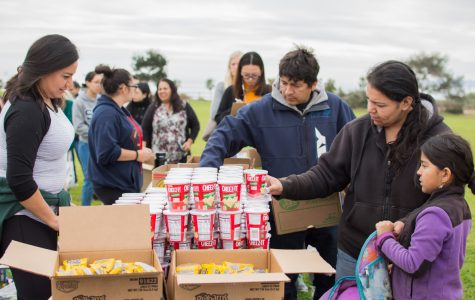 Karina Galaviz and daughter Eileen Galaviz get a snack during the food share held on Wednesday, March 7, at the West Campus Lawn at Santa Barbara City College.
