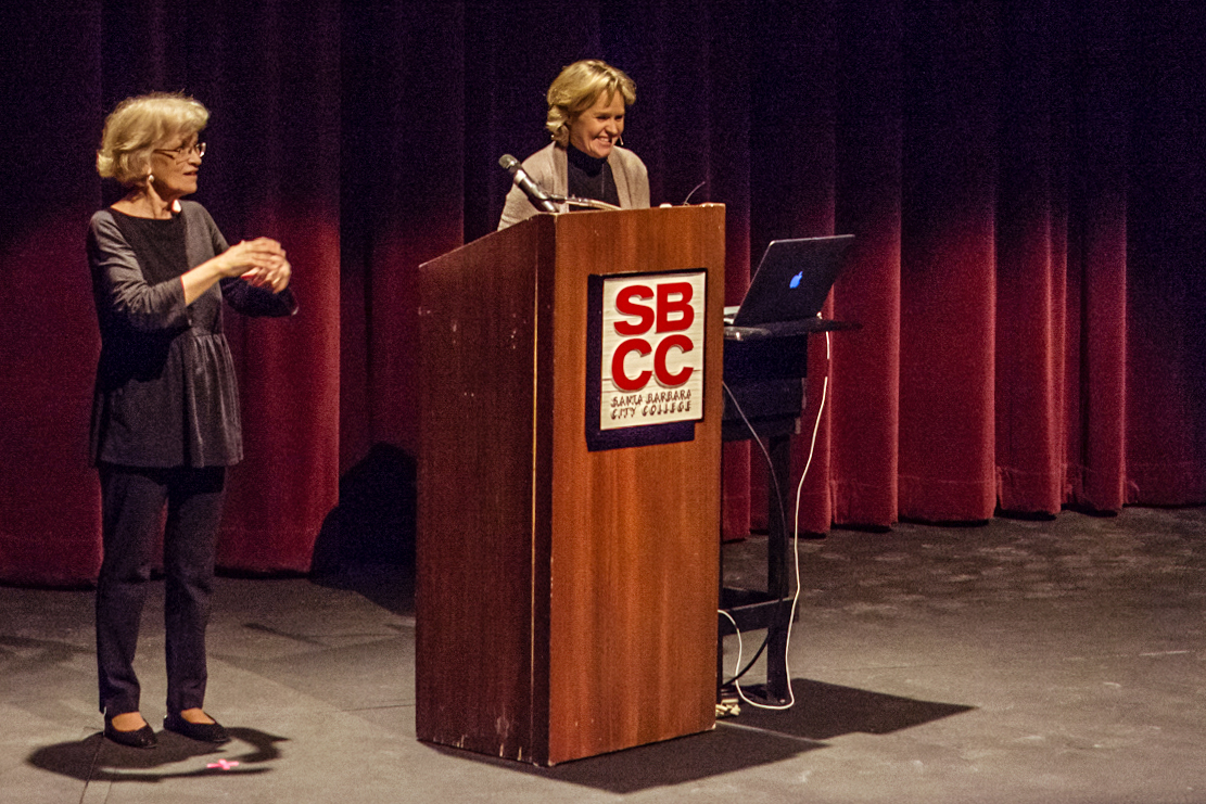 Anne Redding (right) presents the 39th annual faculty lecture titled 'Crime Across the Curriculum' in the Garvin Theatre at Santa Barbara City College on Wednesday, March 21. The lecture was free admission and focused on crime in the country.