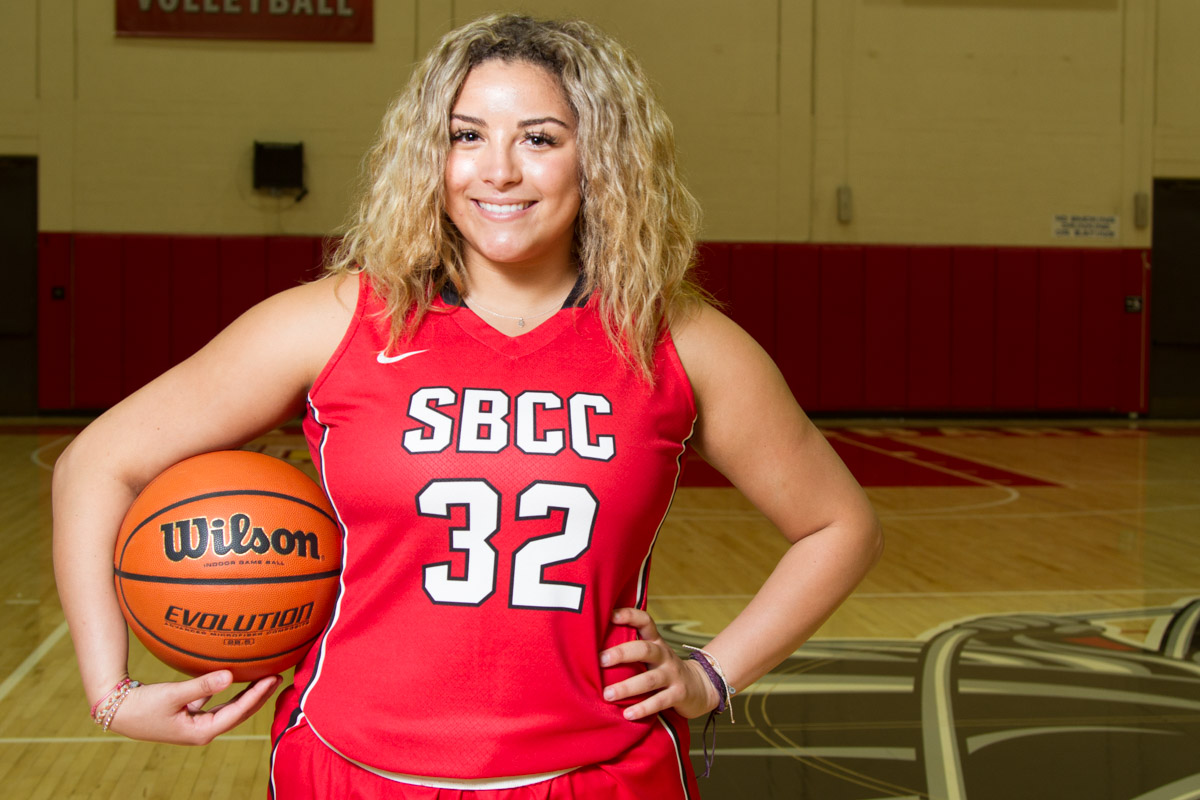 Aaliyah Pauling, in the Sports Pavilion at Santa Barbara City College on Wednesday, Feb. 28. Pauling is a freshman point guard for City College's women's basketball team.
