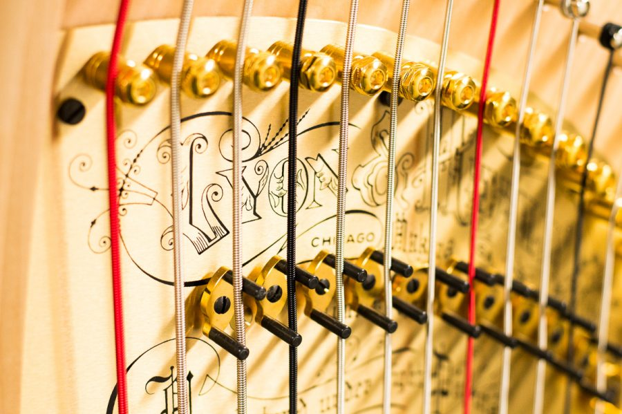 """Strings of Santa Barbara City College's new harp on March 9, in Santa Barbara. """"You can make a hundred pianos and guitars and they'll all be the same but harp's are all different and they all have a different feeling."""" said Ginger Bucker about the $25,000 pedal harp."""