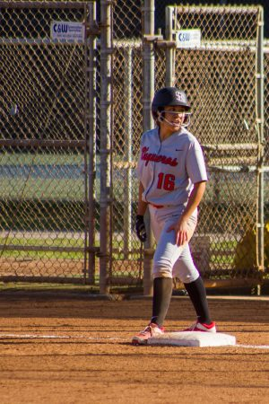 Jasmine Manson, Santa Barbara City College outfielder, at first base after getting a hit. Manson had two out of the six hits for the Vaqueros against the Cuesta College Cougars on Tuesday, March 6, at Pershing Park.