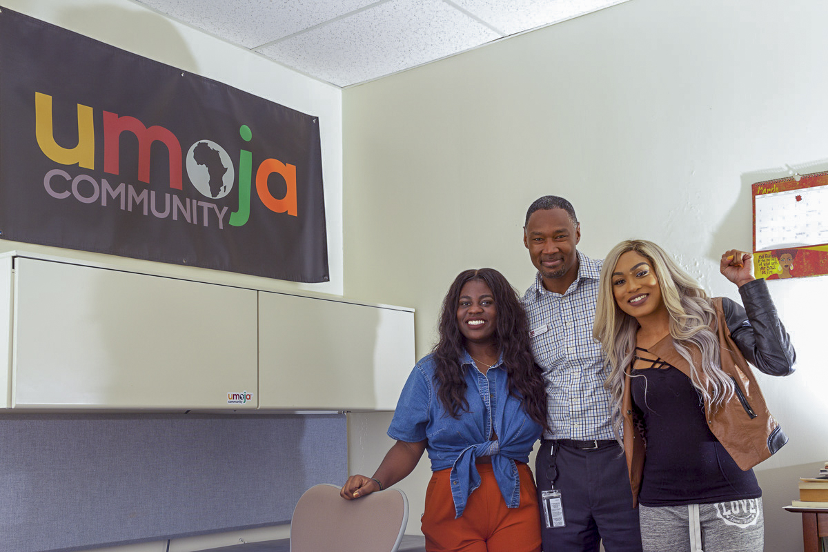 (From left) Saturne Tchabong, Dr. Christopher Johnson, and Krystle Farmer stand in the Umoja office on March 22, in the Campus Center at Santa Barbara City College.
