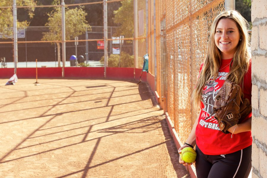 Calista Wendell, Vaquero softball pitcher, on Tuesday, Feb. 27, at Pershing Park in Santa Barbara. Wendell is a sophomore from San Diego, who has pitched 51 innings this season with 40 strikeouts.