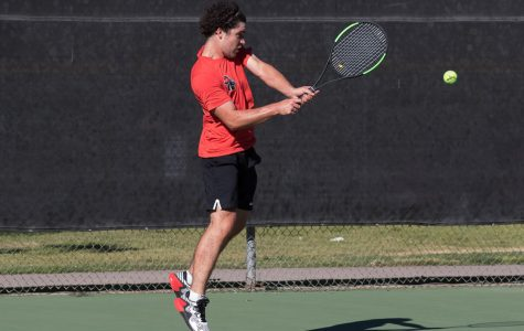 Arthur Scharff, Santa Barbara City College Vaquero, hits the ball back to Augustin Lestelle, Ventura College Pirate, during their single match on Thursday, March 8.
