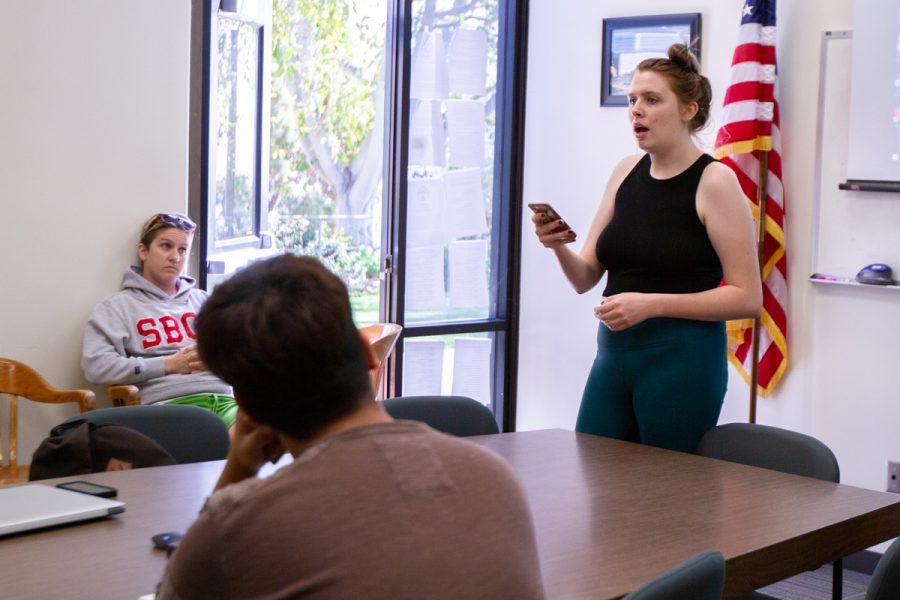 "Melissa Cook speaks during an Associated Student Government meeting in Campus Center Room 217 on Friday, April 13. ""We have been misinformed throughout the way because of the silence from the administration."""