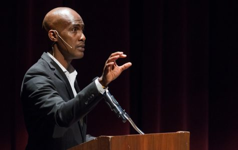 Tyrone Howard during his presentation 'What Does Equity Look Like? Creating Access For All Students,' at the Garvin Theatre, on Wednesday, April 25. Howard talked about race, the difference between equity and equality, and how the school systems affect students.