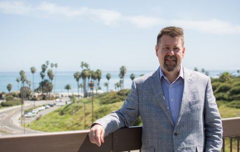 Paul Jarrell, Executive Vice President for City College, stands on the bridge connecting the East Campus to the West Campus at Santa Barbara City College on Wednesday, April 18.