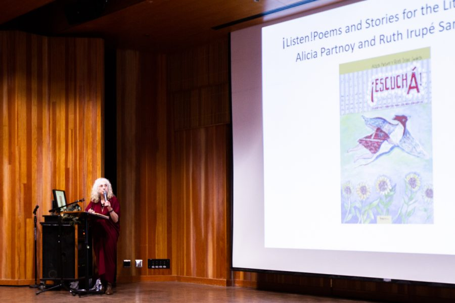 Alicia Partnoy speaks at the Fe Bland Business Communication Forum on Friday, April 13 at Santa Barbara City College. Partnoy is an author and a survivor of an Argentinian concentration camp. The lecture was put on by The School of Modern Languages, the Student Equity Committee and the Luria Library.