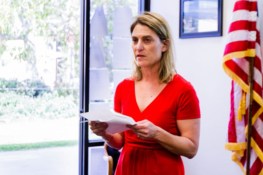 Danielle Swiontek speaks to the Board of Trustees on Thursday, April 12, 2018 at Santa Barbara City College in Santa Barbara, Calif. Swiontek is the chair of the History department at City College.