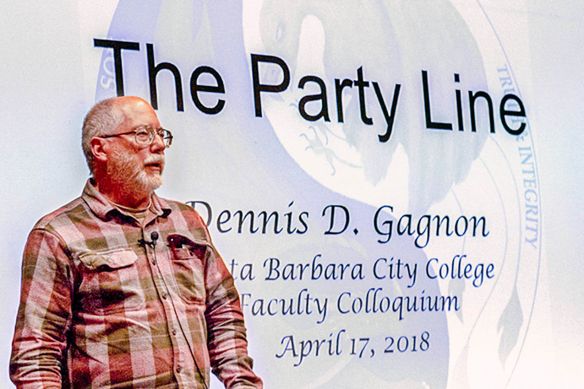 """Dennis D. Gagnon, a City College philosophy instructor, held a presentation on his published book titled """"The Party Line"""" on Tuesday, in the the Business and Communication Forum. """"The Party Line"""" which is filled with many philosophical theories and ideas was published in February 2018."""