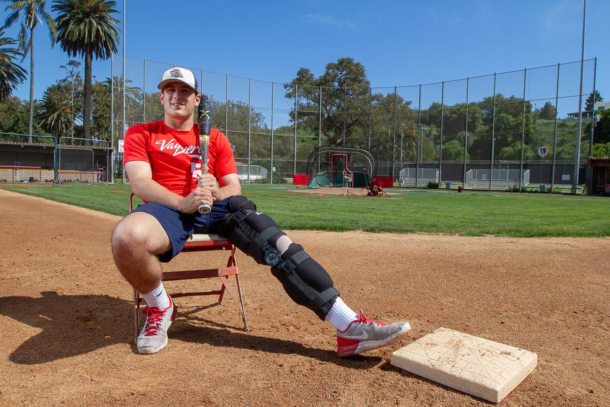 Vaquero infielder, Shane Hersh at Pershing Park on Wednesday, April 18,  in Santa Barbara. Hersh recently suffered an injury at 2nd base, ending his sophomore season.