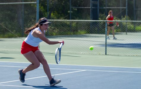Josephine Pulver, Santa Barbara City College Vaquero, defeated Sophia Castillo, Bakersfield College Renegade, in two sets on Tuesday at Santa Barbara City College. The Vaqueros placed second in the Western State Conference at the end of the season.