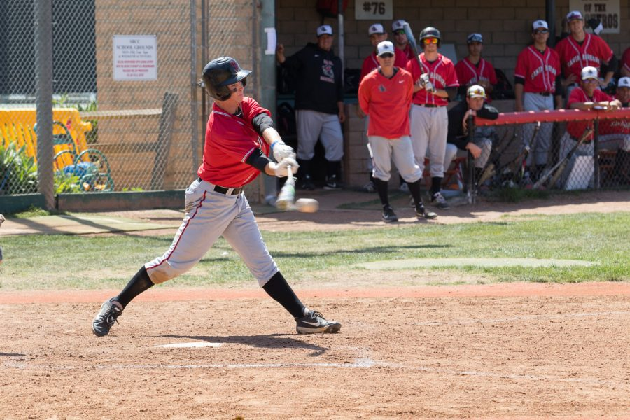 Patrick+Caulfield+earns+the+Vaqueros+three+hits+in+their+game+against+Oxnard+College+on+Saturday%2C+April+14%2C+at+Pershing+Park.+The+Vaqueros+beat+the+Oxnard+College+Condors+11-2+in+the+ninth+inning.