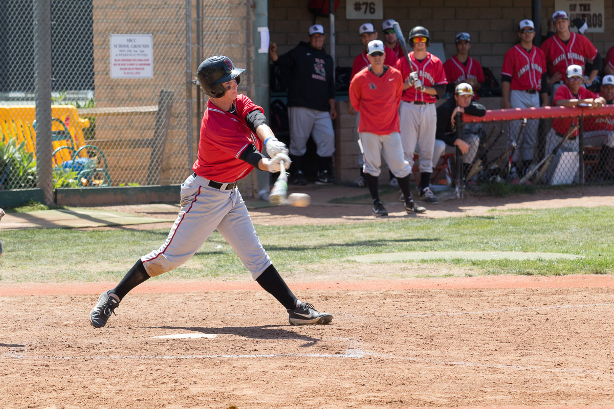 Patrick Caulfield earns the Vaqueros three hits in their game against Oxnard College on Saturday, April 14, at Pershing Park. The Vaqueros beat the Oxnard College Condors 11-2 in the ninth inning.