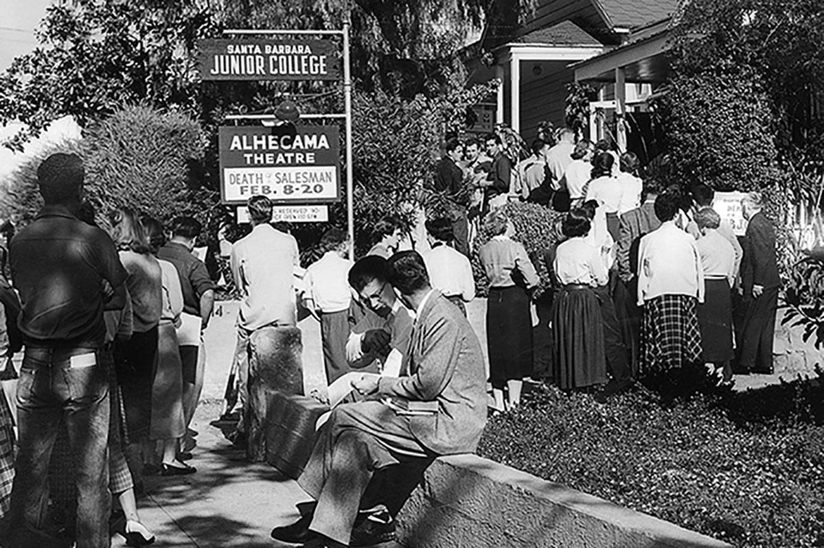 Students registering for classes at the original site of the college on Santa Barbara Street in downtown Santa Barbara during the early 1950's.